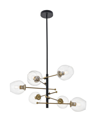 Elegant Lighting - LD5053D32BRB - Six Light Pendant - Paragon - Matte Black And Brass And Clear