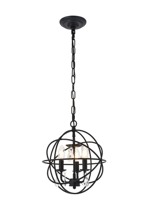 Elegant Lighting - LD5055D12MB - Three Light Pendant - Wallace - Matte Black And Clear