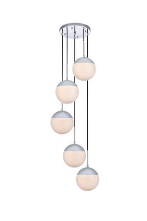 Elegant Lighting - LD6076C - Five Light Pendant - Eclipse - Chrome And Frosted White