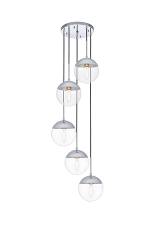 Elegant Lighting - LD6077C - Five Light Pendant - Eclipse - Chrome And Clear