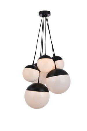 Elegant Lighting - LD6092BK - Six Light Pendant - Eclipse - Black And Frosted White