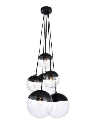 Elegant Lighting - LD6093BK - Six Light Pendant - Eclipse - Black And Clear