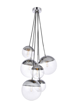 Elegant Lighting - LD6095C - Six Light Pendant - Eclipse - Chrome And Clear