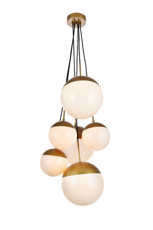 Elegant Lighting - LD6096BR - Six Light Pendant - Eclipse - Brass And Frosted White