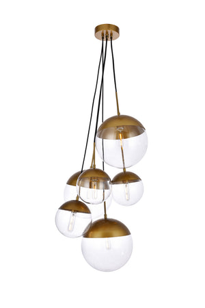 Elegant Lighting - LD6097BR - Six Light Pendant - Eclipse - Brass And Clear