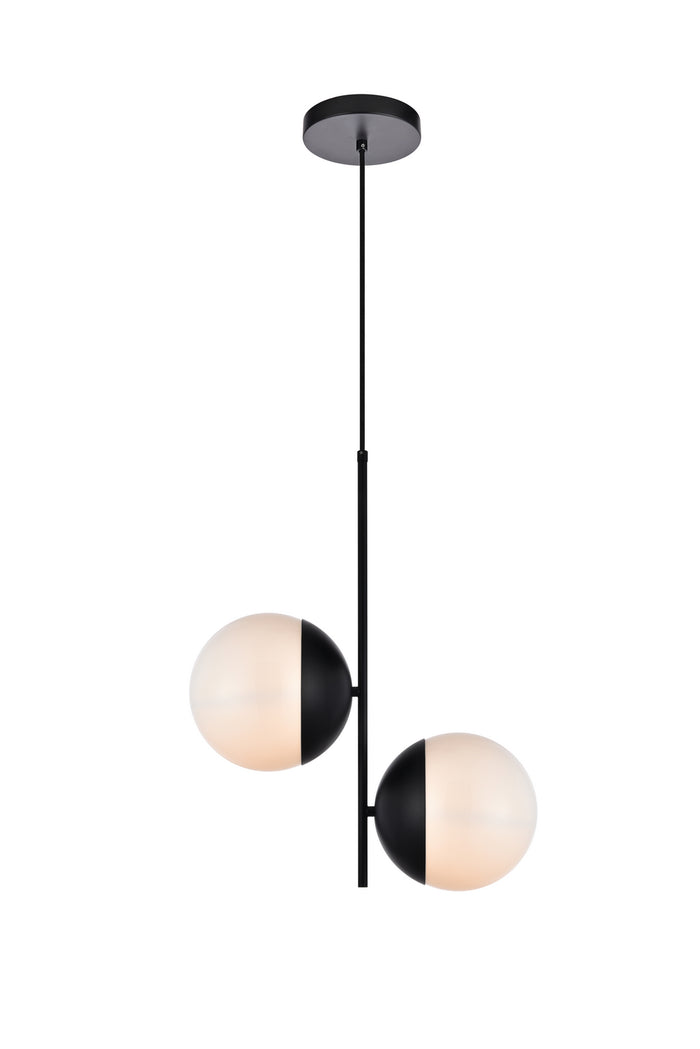 "Elegant Lighting Two light Pendant 8.00"" Black And Frosted White"
