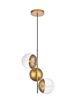 Elegant Lighting - LD6127BR - Three Light Pendant - Eclipse - Brass And Clear