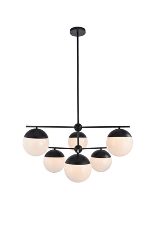 Elegant Lighting - LD6140BK - Six Light Pendant - Eclipse - Black And Frosted White