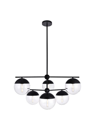 Elegant Lighting - LD6141BK - Six Light Pendant - Eclipse - Black And Clear