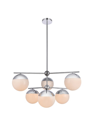 Elegant Lighting - LD6142C - Six Light Pendant - Eclipse - Chrome And Frosted White