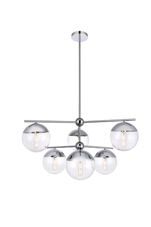 Elegant Lighting - LD6143C - Six Light Pendant - Eclipse - Chrome And Clear