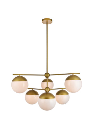 Elegant Lighting - LD6144BR - Six Light Pendant - Eclipse - Brass And Frosted White