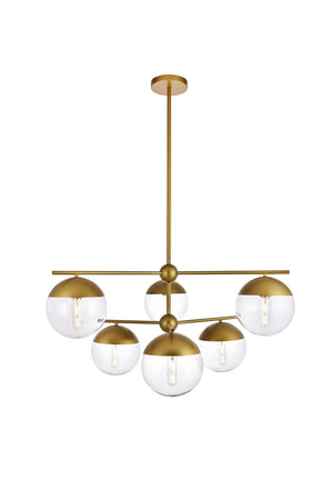 Elegant Lighting - LD6145BR - Six Light Pendant - Eclipse - Brass And Clear