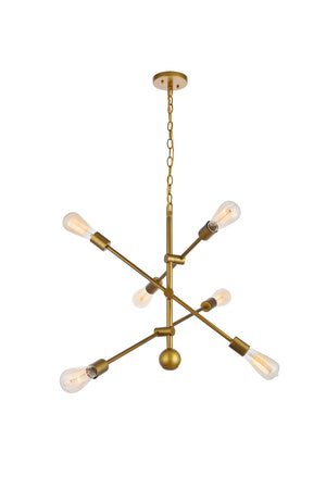 Elegant Lighting - LD8008D29BR - Six Light Pendant - Axel - Brass