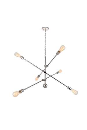Elegant Lighting - LD8010D42PN - Six Light Pendant - Axel - Polished Nickel