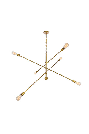 Elegant Lighting - LD8014D55BR - Six Light Pendant - Axel - Brass