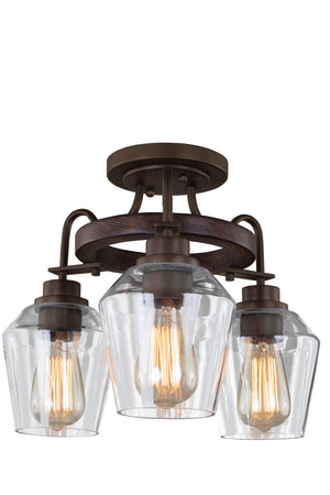 Kalco - 508740BS - Three Light Semi Flush Mount - Allegheny - Brownstone