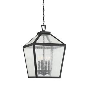 Savoy House - 5-104-BK - Four Light Outdoor Hanging Lantern - Woodstock - Black
