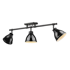 Golden - 3602-3SF BLK-BK - Three Light Semi-Flush - Track Light - Duncan BLK - Black