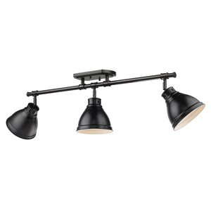 Golden - 3602-3SF BLK-BLK - Three Light Semi-Flush - Track Light - Duncan BLK - Black
