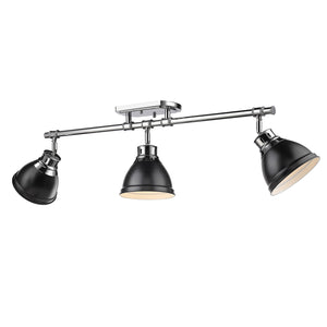 Golden - 3602-3SF CH-BLK - Three Light Semi-Flush - Track Light - Duncan CH - Chrome