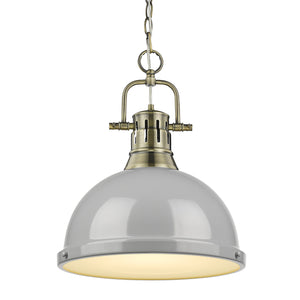 Golden - 3602-L AB-GY - One Light Pendant - Duncan AB - Aged Brass