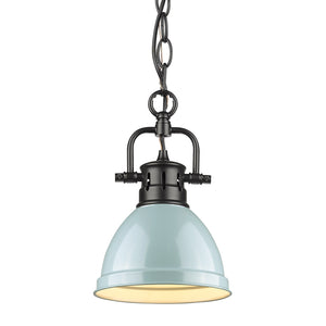 Golden - 3602-M1L BLK-SF - One Light Mini Pendant - Duncan BLK - Black