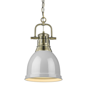 Golden - 3602-S AB-GY - One Light Mini Pendant - Duncan AB - Aged Brass