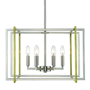 Golden - 6070-6 PW-AB - Six Light Chandelier - Tribeca PW - Pewter