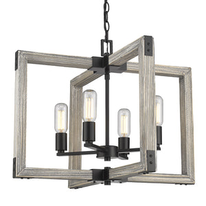 Golden - 7808-4 BLK - Four Light Chandelier - Lowell - Black