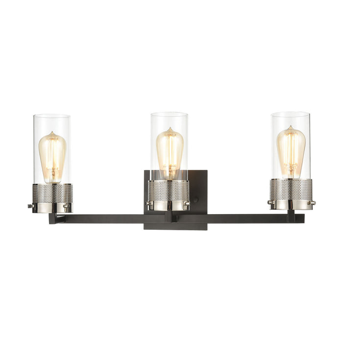 "Elk Lighting Three Light Vanity 23.00"" Matte Black, Polished Nickel"