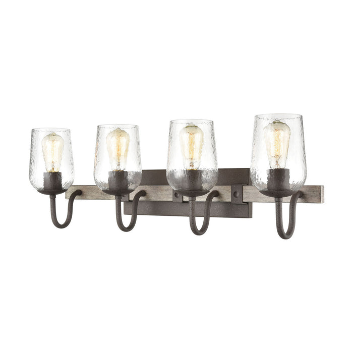 "Elk Lighting Four Light Vanity 30.00"" Vintage Rust, Colonial Maple"