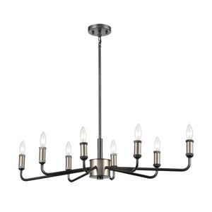 Elk Lighting - 15397/8 - Eight Light Island Pendant - Cortlandt - Gray Iron, Brushed Platinum