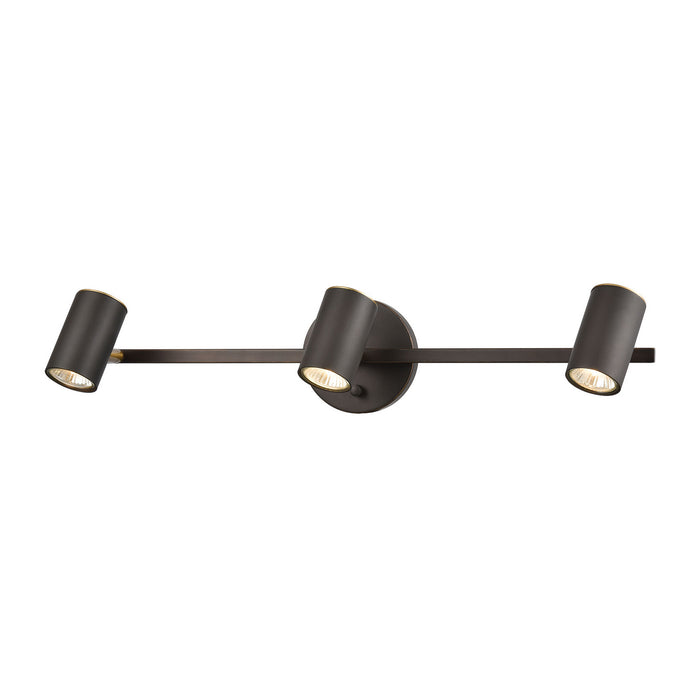 "Elk Lighting Three Light Vanity 24.00"" Matte Black, Satin Brass"