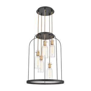 Elk Lighting - 15446/5 - Five Light Pendant - Sheena - Silverdust Iron, Satin Brass