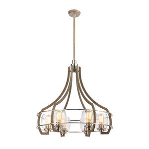 Elk Lighting - 46425/6 - Six Light Chandelier - Bixler - Light Wood, Satin Nickel