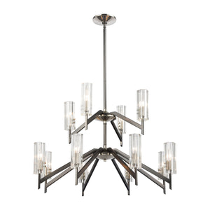Elk Lighting - 55077/8+4 - 12 Light Chandelier - Aspire - Black Nickel, Polished Nickel