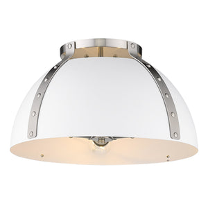 Golden - 6928-FM18 PW-WHT - Three Light Flush Mount - Aldrich PW - Pewter