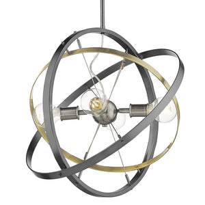 Golden - 7936-4 BS-AB-BS - Four Light Chandelier - Atom BS - Brushed Steel