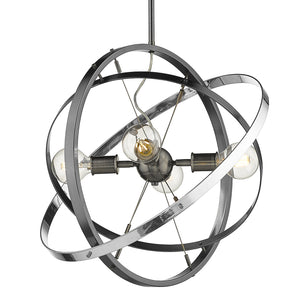 Golden - 7936-4 BS-BS-CH - Four Light Chandelier - Atom BS - Brushed Steel