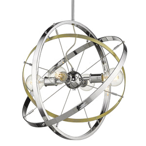 Golden - 7936-4 CH-AB-CH - Four Light Chandelier - Atom CH - Chrome