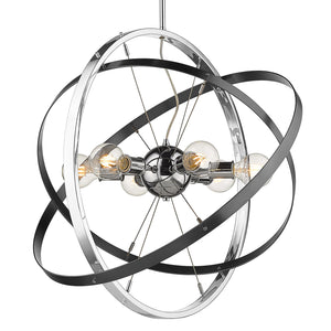 Golden - 7936-6 CH-BS-BS - Six Light Chandelier - Atom CH - Chrome