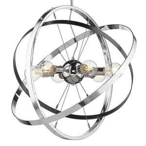 Golden - 7936-6 CH-BS-CH - Six Light Chandelier - Atom CH - Chrome