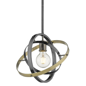 Golden - 7936-M BS-BS-AB - One Light Pendant - Atom BS - Brushed Steel