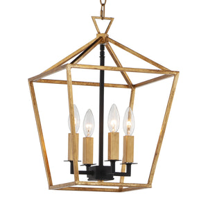 Maxim - 25152GLTXB - Four Light Chandelier - Abode - Gold Leaf / Textured Black