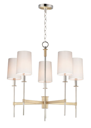 Maxim - 32395OFSBRPN - Five Light Chandelier - Uptown - Satin Brass / Polished Nickel