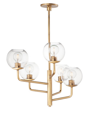 Maxim - 38415CLNAB - Five Light Chandelier - Branch - Natural Aged Brass