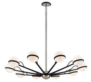 Troy Lighting - F7166 - Ten Light Chandelier - Ace - Carb Blk W Pol Nickel Accents