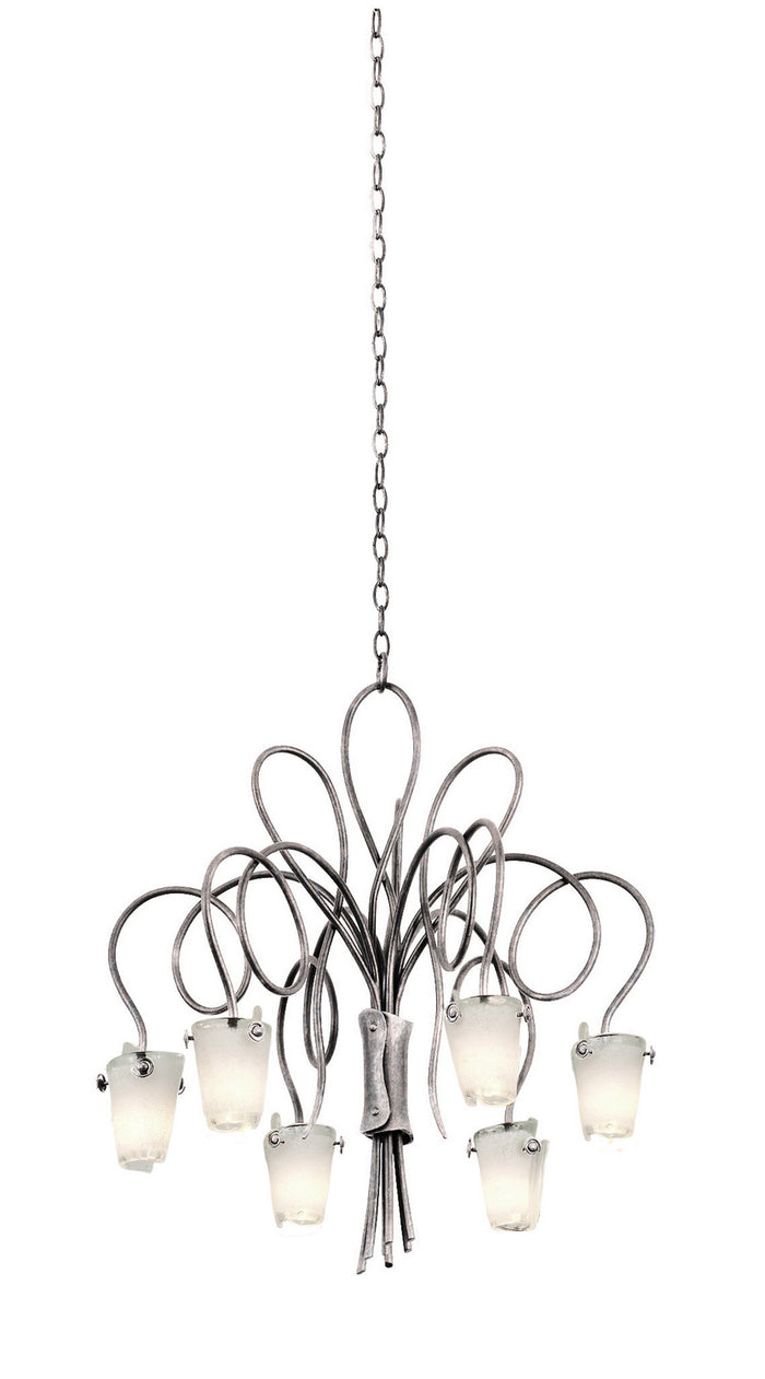 "Kalco Six Light Chandelier 25.00"" Pearl Silver"