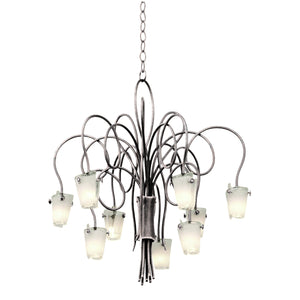 Kalco - 4309PS/FROST - Nine Light Chandelier - Tribecca - Pearl Silver